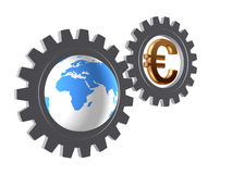 Gear-wheels with world globe and euro Stock Photos