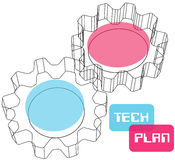 Gear wireframe 3D technology plan concept Stock Photo