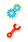 Gear and Wrench Icons Royalty Free Stock Images