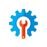 Gear and wrench vector logo template concept illustration in flat style. Support icon. Setting flat icon. Cog sign. SEO insignia Royalty Free Stock Photos