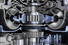 Gearbox automotive transmission. Gearbox cross-section, engine industry, sprockets, cogwheels and bearings of automotive transmission for oversize trucks, SUV Royalty Free Stock Photography