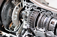 Gearbox and clutch cross-section. Stock Image