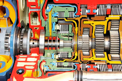 Gearbox color. Open gearbox colorful housing of big truck royalty free stock images
