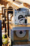 Gearbox on large electric motor. At industrial equipment plant stock photo