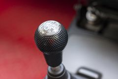 Gearbox lever in the manual transmission car. stock photography