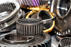 Gearbox parts. Stack of gearbox gearings and wheels royalty free stock images