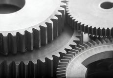 Gearing. Large gears and bearings on display stock images
