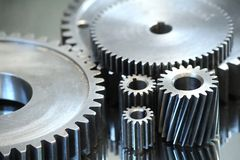 Gearing. Large gears and bearings on display stock photo