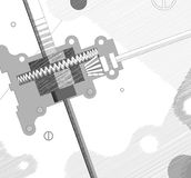 Gearing line drawing. Abstract background gearing line drawing Stock Photos