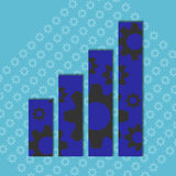 Gearing up. Background illustration of gears on a bar graph Royalty Free Stock Photography