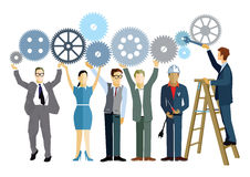 Gearing up for business. Colorful illustration of business people holding up a series of interlocking cog wheels, one man on a stepladder using a spanner to get Royalty Free Stock Photo