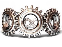 Gears 007. Soft gears in motion and interaction - 3D illustration. Making a circle and symbol of team work royalty free illustration