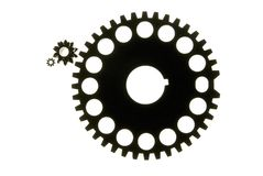 Gears-01. A silhouette of 3 gears Royalty Free Stock Photography