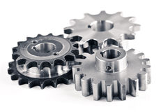 Gears. Interlocking industrial metal gears isolated on white Stock Photography