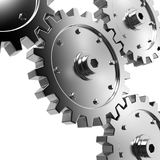 Gears. 4 gears connected together. High resolution rendered Stock Image