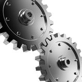 Gears. 2 gears connected together. High resolution rendered Stock Photo