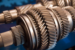 Gears. A Mainshaft and Countershaft of a transmission with gears meshing. Focus on the gears Royalty Free Stock Photo