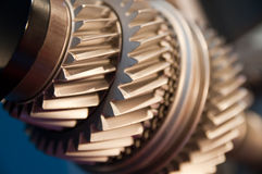 Gears. A Mainshaft and Countershaft of a transmission with gears meshing. Focus on the gears Stock Image