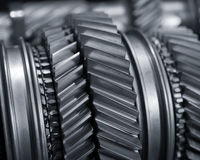 Gears. A Mainshaft and Countershaft of a transmission with gears meshing. Focus on the gears Royalty Free Stock Image