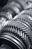 Gears. A Mainshaft and Countershaft of a transmission with gears meshing. Focus on the gears Royalty Free Stock Images