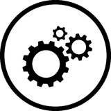 Gears. Vector icon of gears. black and white Stock Image