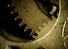Gears. Clockwork, gears and screws. Mechanical structure royalty free stock photography