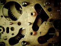 Gears. Clockwork, gears and screws. Mechanical structure royalty free stock photos