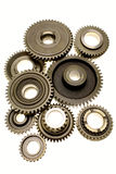 Gears. Assorted metal gears on white Stock Photos