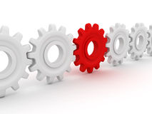 Gears. Red gear is leading white pinions. 3D render Royalty Free Stock Image