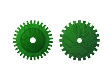 Gears. Two gears with circuit texture  drawing Stock Image