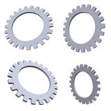 Gears. 3d gears in different perspectives Royalty Free Stock Images
