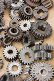 Gears. Of motorcycle transmission - old spare parts texture Stock Image
