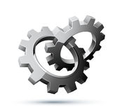 Gears. Silver gears illustration on white background Stock Images