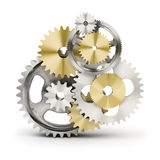 Gears. Metal polished gears. 3d image. Isolated white background Stock Photos