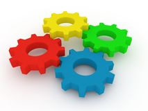 Gears. Colorful 4 gears working together. Computer render stock illustration