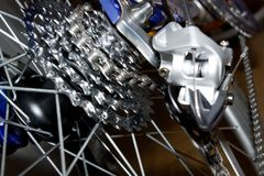 Gears. Rear bicycle gear set with derailleur stock photography