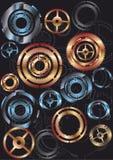 Gears. Lot of gears (gold, blue, yellow, black) wallpapier vector illustration