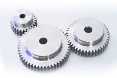 Gears. Sincronization of industrial gears on white background Stock Photo