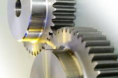 Gears. Sincronization of industrial gears with yellow light Stock Images
