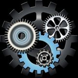 Gears. Multiple gears placed on dark background in a square stock illustration