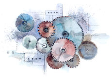 Gears. Group of gears (Cbm painting Stock Photo