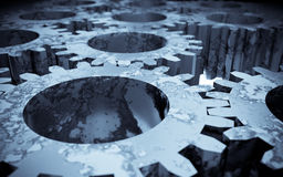 Gears. 3d image of rusted gears royalty free illustration
