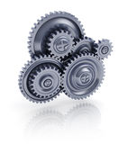 Gears. 3d illustration of gear wheels system over white background Stock Images