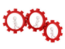Gears. Render of 3 man running inside gears Royalty Free Stock Photography