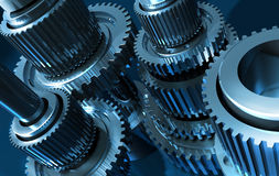 Gears_4. A gear mechanism in a single mechanism Stock Photos