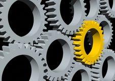 Gears. 3d rendering of a golden gear in between other gears Stock Photos
