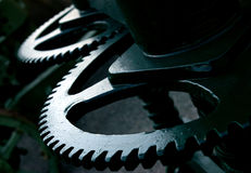 Gears. Teethed gears in big industry machine abstract Stock Photography