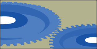 Gears. Two Blue Gears Spinning Stock Photo