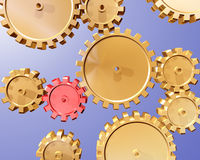 Gears. Illustration of highly polished interlocking cogs and gears Stock Photo