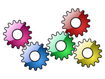 Gears. Colorful gears group isolated on white background Royalty Free Stock Photography